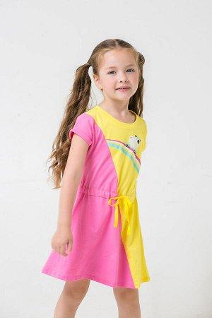 Платье(Весна-Лето)+girls (розовый, сочный лимон к1258)