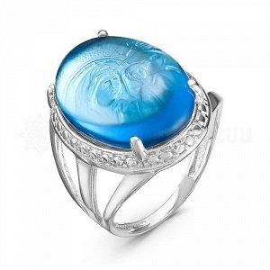 Кольцо из серебра с кварцем топаз родированное Казанская икона Божией Матери к-7002