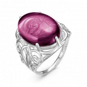 Кольцо из серебра с кварцем аметист родированное Владимирская икона Божией Матери К-6001р101
