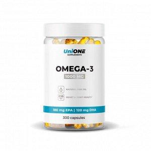 Омега 3 (Рыбий жир) UniONE 1000мг (30%) - 300 капсул
