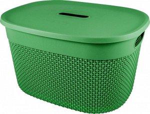 Корзина для хранения с крышкой OSLO 18л, цв.бархатно-зеленый PT1333БЗ-10