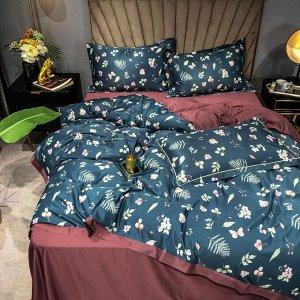 Комплект постельного белья Сатин Роял Тенсель на резинке TSR022