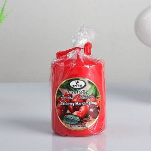 "Свеча- цилиндр ""CRANBERRY MARSHMALLOW"", ароматизированная, парафин, 6?8 см"