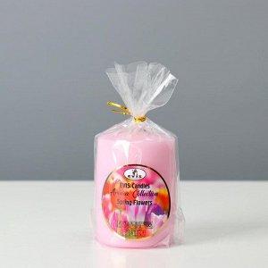 "Свеча- цилиндр ""SPRING FLOWERS "", ароматизированная, парафин, 6?8 см"