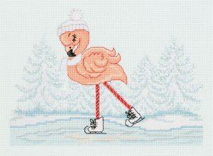 Набор для вышивания Кларт Фламинго на коньках 20,5*15,5 см
