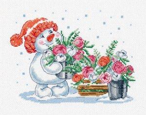 Набор для вышивания Кларт Зима в розовом цвете 24,5*19 см