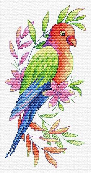 """""""Жар-птица"""" Набор для вышивки на одежде Попугай 19*9 см"""