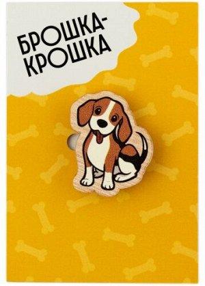 "Значок деревянный ""Собачка"" бигль"