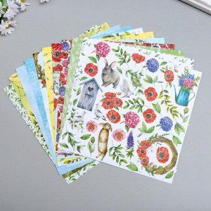 """Набор бумаги для скрапбукинга """"Summer mood"""" 10 листов, 20х20 см"""