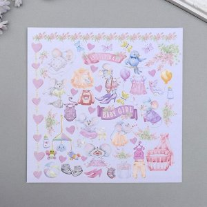 "Набор бумаги для скрапбукинга ""My little mousy girl"" 10 листов, 20х20 см"