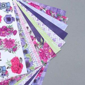 """Набор бумаги для скрапбукинга """"Mind Flowers"""" 10 листов, 20х20 см"""