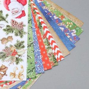 """Набор бумаги для скрапбукинга """"Awaiting Christmas"""" 10 листов, 20х20 см"""