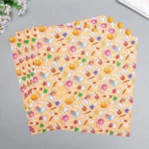 """Набор бумаги для скрапбукинга """"Косметичка"""" 30х30 см, 5 листов, 160 г/м2"""