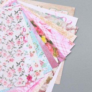 """Бумага для скрапбукинга 15х15 см """"Шебби-шик"""", двусторонняя, 12 листов, 12 дизайнов, 180 г/м2"""