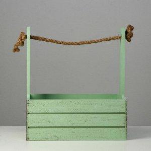 """Кашпо деревянное 25.5?15?30 см """"Прованс"""", ручка канат, зелёный"""