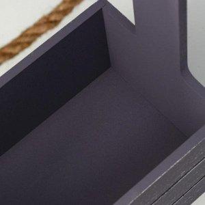 """Кашпо деревянное 25.5?15?30 см """"Прованс"""", ручка канат, серый графит"""
