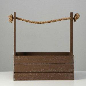 """Кашпо деревянное 25.5?15?30 см """"Прованс"""", ручка канат, коричневый"""