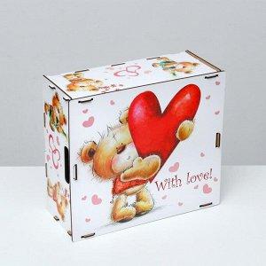 """Подарочный ящик """"Люблю тебя, мишка с сердцем"""", разноцветный, 33?29?14 см"""