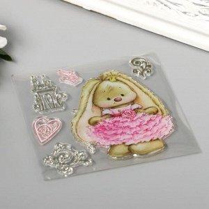 """Штамп для творчества силикон """"Милая зайка в розовом платье"""" 10х10 см"""