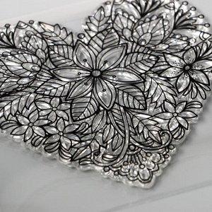 """Штамп для творчества силикон """"Цветочное сердце"""" 10х14,5 см"""