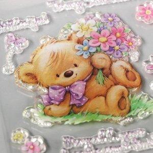 "Штамп для творчества силикон ""Медвежонок с букетом"" 10х10 см"