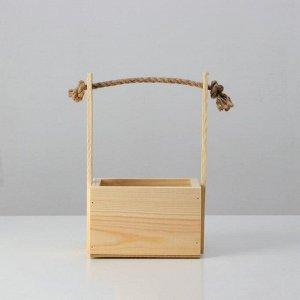 """Кашпо деревянное, 15?12?9,5(25) см """"Поздравляю"""", ручка верёвка, гравировка"""