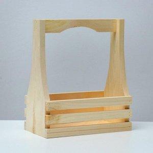 Кашпо деревянное 25?13,5?29(9) см, с фигурной ручкой, с двойной прорезью