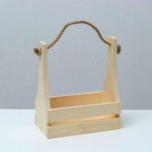 Кашпо деревянное 25?13,5?29(9) см, ручка канат, с прорезью