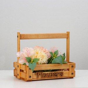 "Кашпо деревянное ""Flowers"", 28 х 16 см, h = 23 см"
