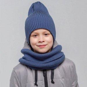 ШЗ20-711790 Комплект: Шапка зимняя вязаная с подворотом, индиго, снуд к шапке