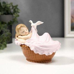 "Сувенир керамика ""Малыш спит в колыбели"" цветной 10х9,5х12,5 см"