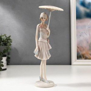 """Сувенир полистоун """"Девушка в наряде 40-х годов, с зонтом"""" 28,5/25х7х8 см"""