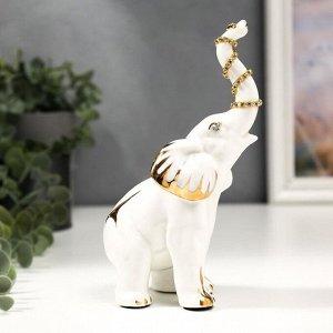 """Сувенир керамика """"Белый слон"""" с золотом, стразы 17,5 см"""
