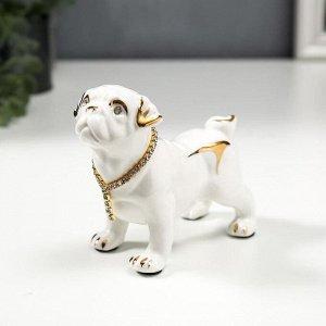 """Сувенир керамика """"Бульдог в ошейнике"""" белый, со стразами, 9,5х12х6 см"""