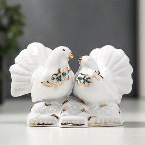 """Сувенир """"2 воркующих голубя"""" со стразами, под фарфор"""