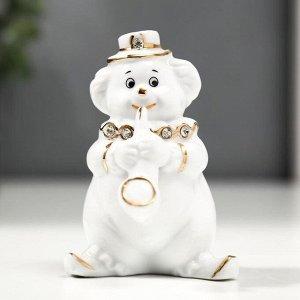 """Сувенир керамика """"Клоун-трубач"""" белый с золотом 9,5 см"""