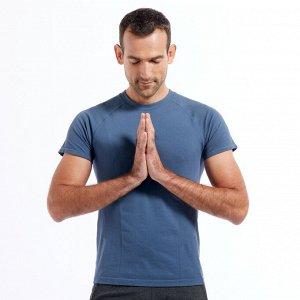 Футболка для мягкой йоги мужская бесшовная хлопковая синяя KIMJALY