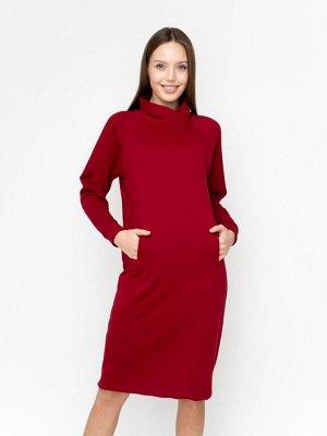 Платье Ткань: футер 3-хнитка петля с лайкрой гладкокрашенный пенье Состав: хлопок 95%, лайкра 5% Цвет: бордовый  Платье полуприталенного силуэта в стиле спорт-шик длиной до середины колена.  Высокий в