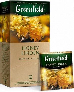 Черный чай в пакетиках Greenfield Honey Linden, 25 шт (с липой и медом)