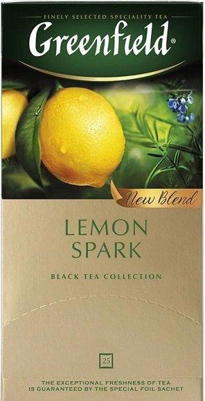 Черный чай в пакетиках Greenfield Lemon Spark, 25 шт
