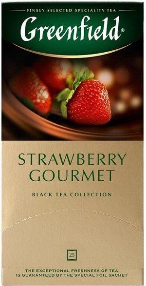 Черный чай в пакетиках Greenfield Strawberry Gourmet, 25 шт