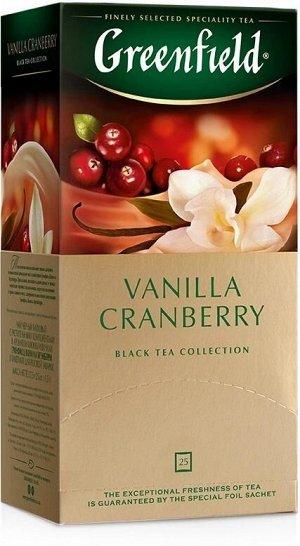 Черный чай в пакетиках Greenfield Vanilla Cranberry, 25 шт