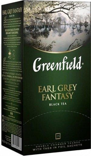 Черный чай в пакетиках Greenfield Earl Grey Fantasy ароматизированный, 25 шт