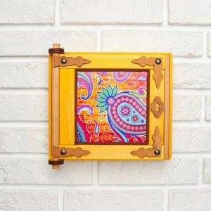 "Ключница - картина, деревянная ""Пейсли"", 20 x 20 x 6 см"