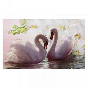"""Картина на холсте """"Лебеди в цветах"""" 60*100 см"""