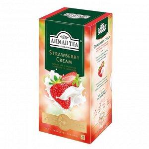 """Чай Ахмад """"Ahmad Tea"""" Strawberry Cream черный листовой с клубникой со сливками 25 пак"""