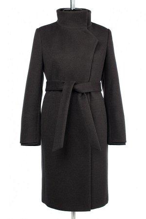 01-10392 Пальто женское демисезонное (пояс) Пальтовая ткань темно-серый