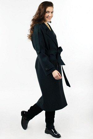 01-10374 Пальто женское демисезонное (пояс) валяная шерсть темно-зеленый