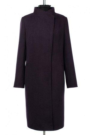 01-10272 Пальто женское демисезонное Пальтовая ткань Баклажан