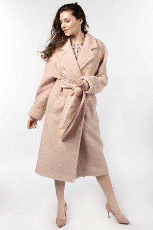 01-10352 Пальто женское демисезонное (пояс) вареная шерсть пудра